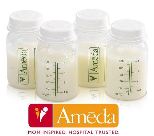 Ameda Breast Milk Storage Bottles 4 Pack