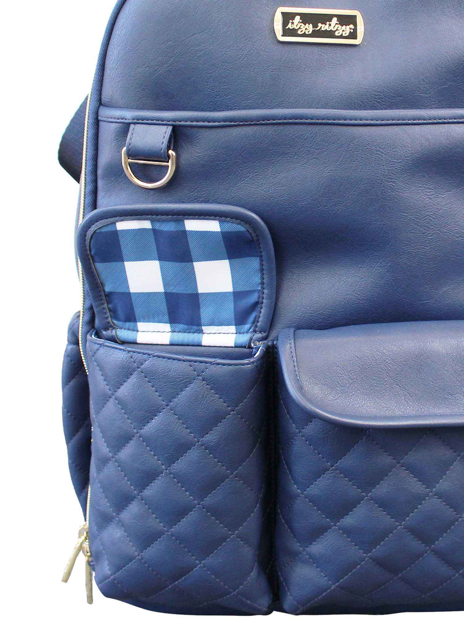 itzy-ritzy-boss-backpack-diaper-bag-navy-gingham-close