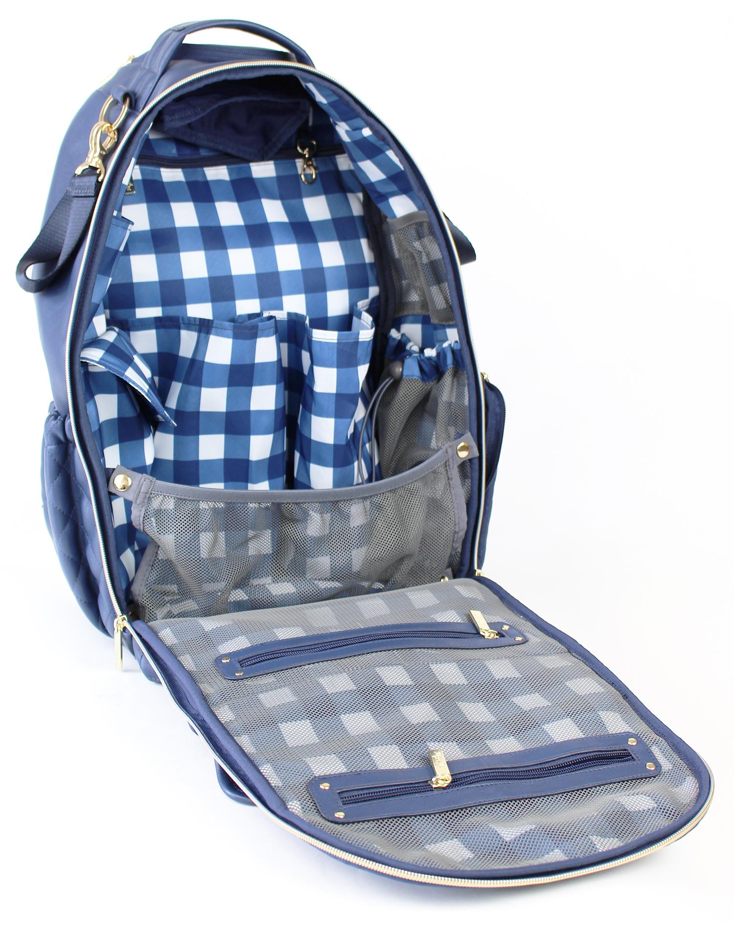 itzy-ritzy-boss-backpack-diaper-bag-navy-gingham-open