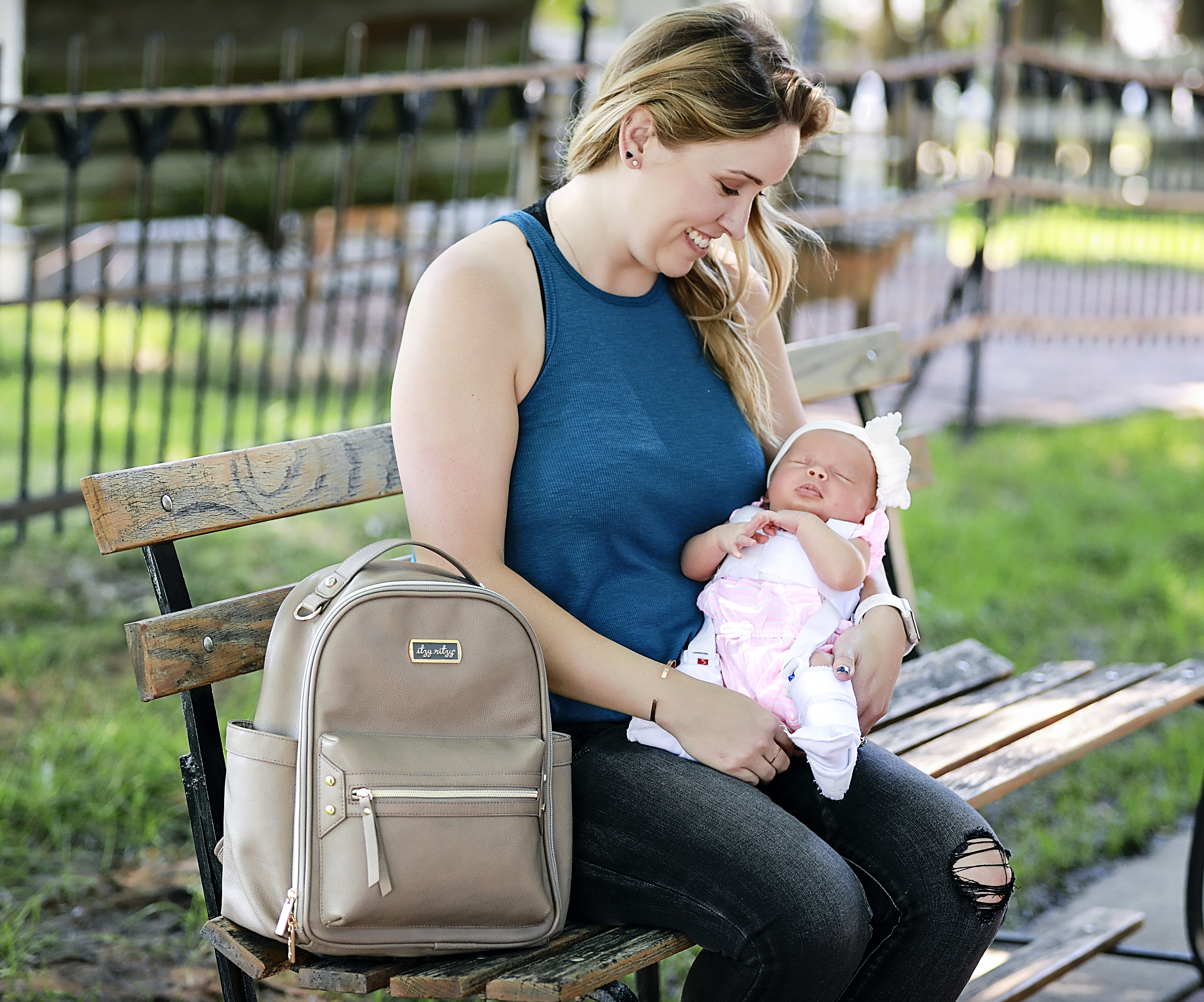 itzy-ritzy-mini-backpack-diaper-bag-taupe-mom-2