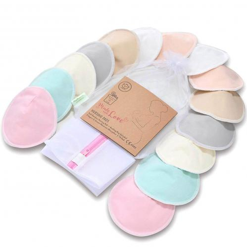 Keababies Organic Bamboo Pastel Nursing Pads for Breastfeeding - 7 Pairs