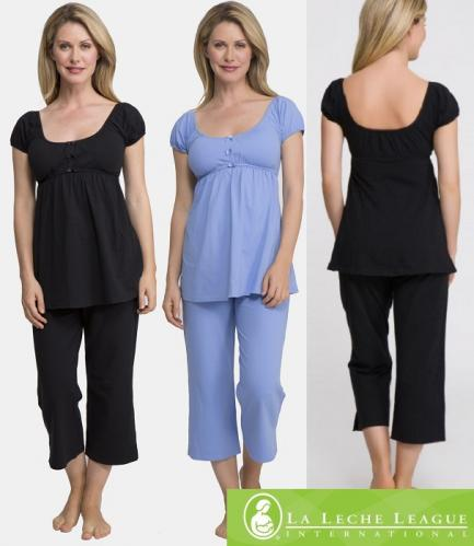 La Leche League Cute Cropped Maternity & Nursing Pajamas