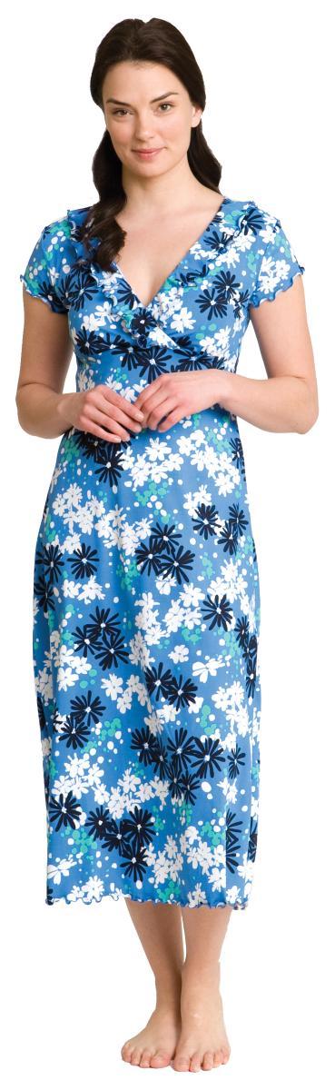 Majamas Adelaide Nursing Gown--Large, Powder Blue