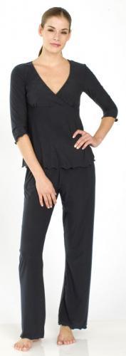 Majamas 3/4 Sleeve M.J.s Pajamas Set--Classic Black, XL
