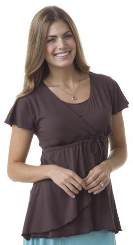 Majamas Corella Nursing Top--Brown, Small (6-8)