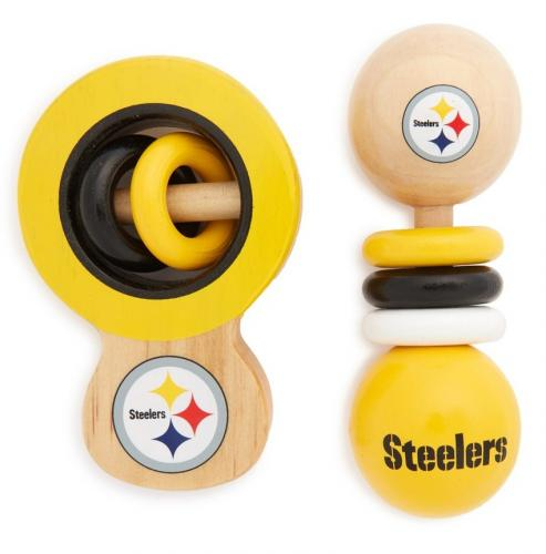 Pittsburgh Steelers Wooden Baby Rattles Set