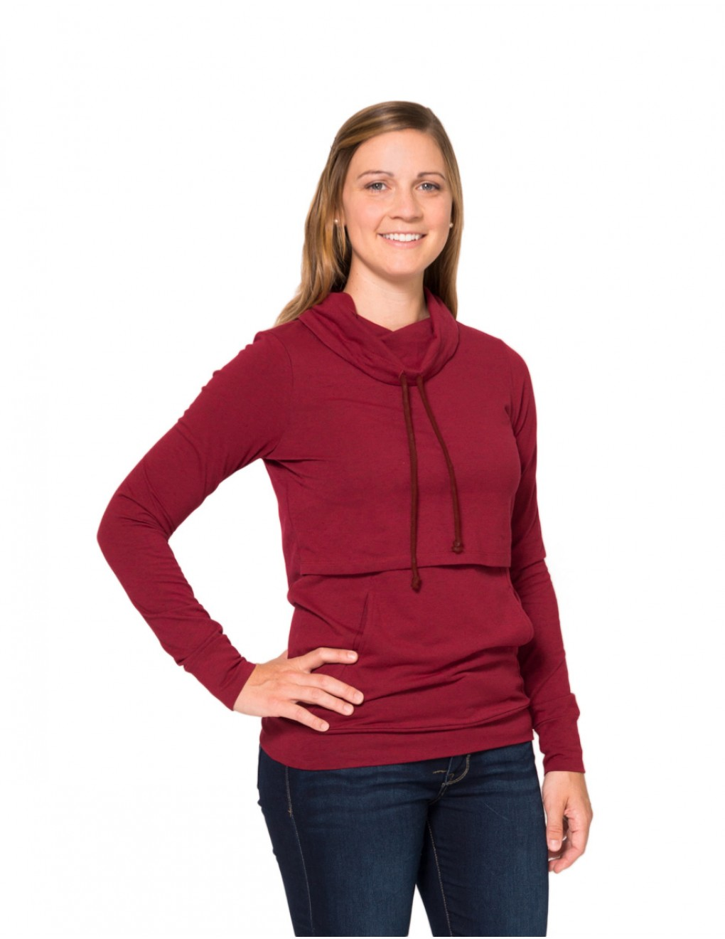 momzelle-new-turtleneck-deep-red-heather-nursing-top-front