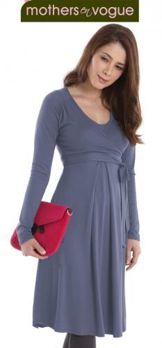 Mothers En Vogue Faux Wrap Nursing Dress--Lavender
