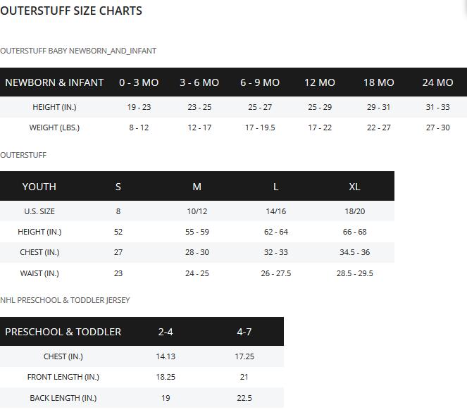 outerstuff-size-chart