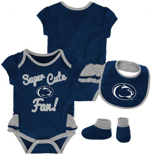 Penn State Super Cute Girl Onesie, Bib & Bootie Set