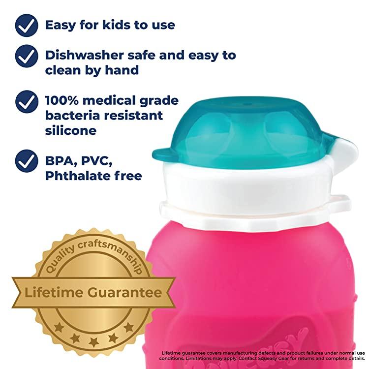 Squeasy Snacker Reusable Non-Spill Silicone Pouch--3.5 oz, 6 oz or 16 oz ($12.99-16.99) 13