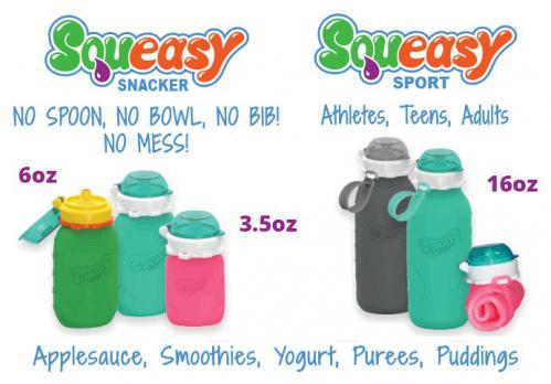 Squeasy Snacker Reusable Non-Spill Silicone Pouch--3.5 oz, 6 oz or 16 oz ($12.99-16.99)