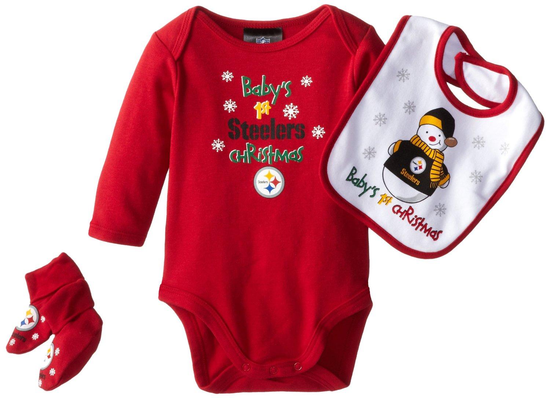 steelers 1st christmas onesie cap bib set
