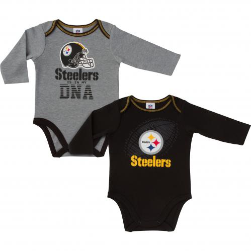 Steelers Black & Grey Longsleeve Onesie--2 Pack
