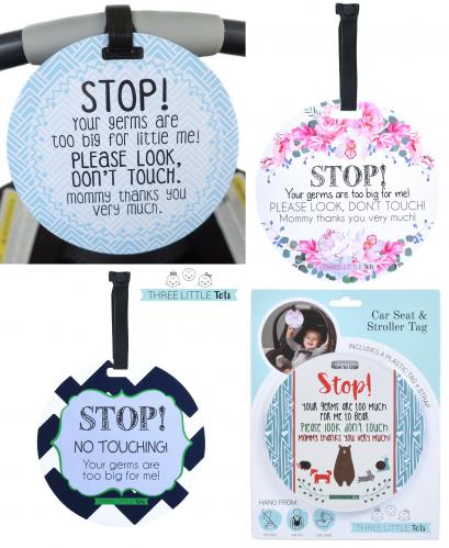No Touching Baby Tags for Car Seat & Stroller - Stop! Germs are Too Big For Me