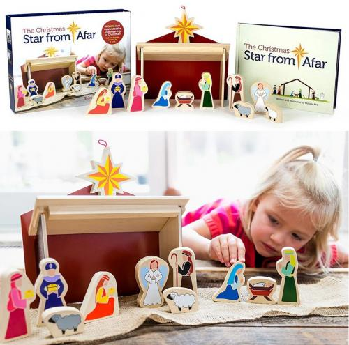 The Christmas Star From Afar - Wooden Navity Set, Book & Game